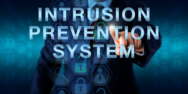 Cybersecurity specialist is touching INTRUSION PREVENTION SYSTEM onscreen. Information technology and security concept for an IPS set of network protection appliances monitoring system activities.